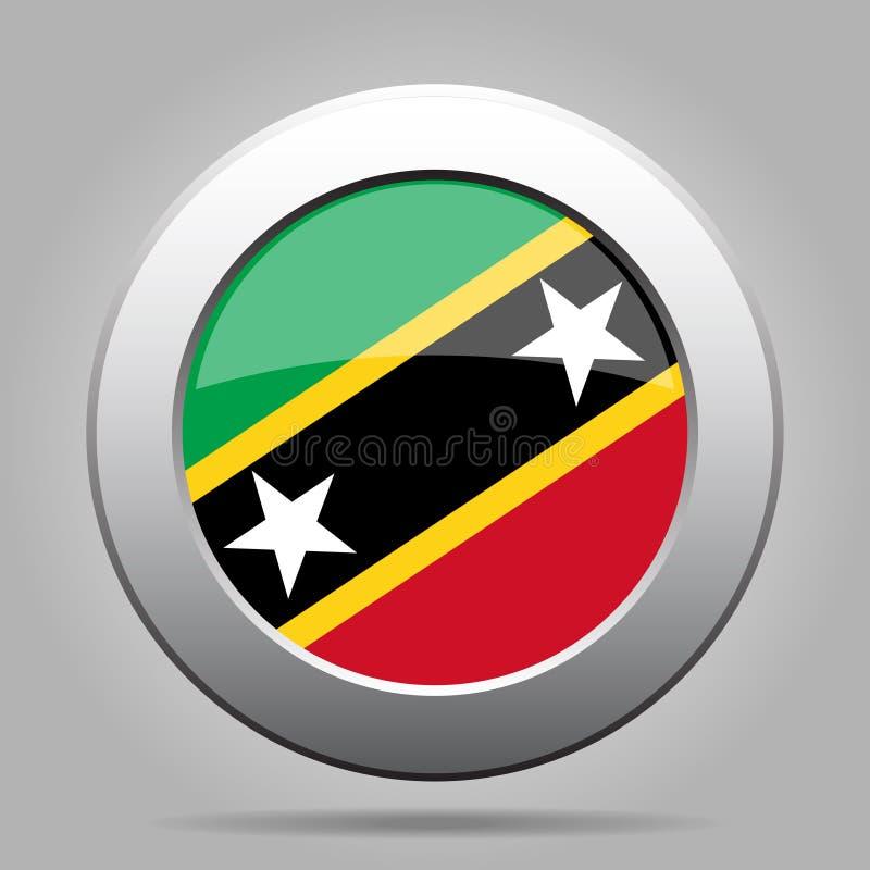 Sjunka av Sanktt Kitts och Nevis Metallrundaknapp vektor illustrationer