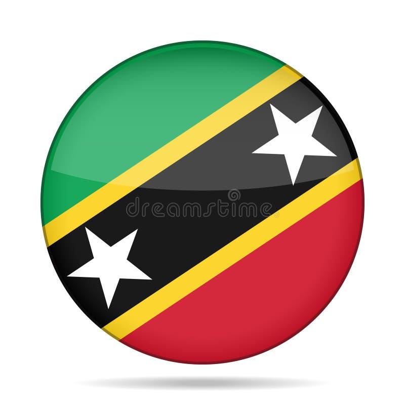 Sjunka av Sanktt Kitts och Nevis Skinande rund knapp royaltyfri illustrationer