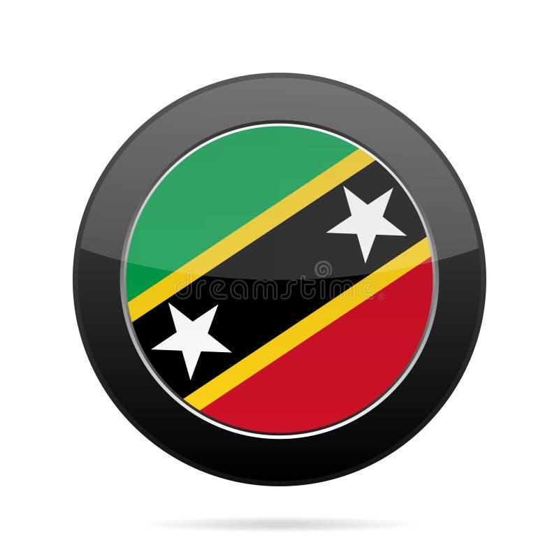Sjunka av Sanktt Kitts och Nevis Svart rund knapp vektor illustrationer