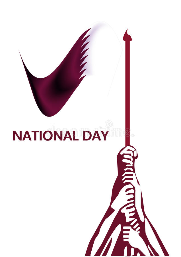 Sjunka designillustrationvektorn, qatarisk logo för nationell dag royaltyfri illustrationer