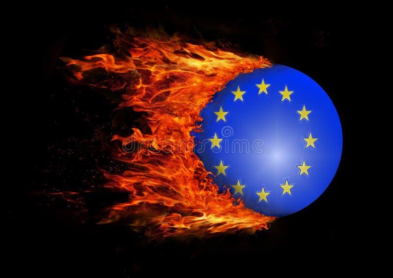 Sjunka med en slinga av brand - europeisk union royaltyfri illustrationer