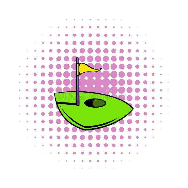 Sjunka på en golfbanasymbol, komiker utformar vektor illustrationer
