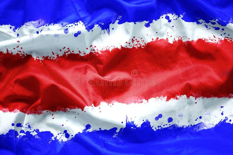 Sjunka republiken av Costa Rica vid vattenfärgmålarfärgborsten på kanfastyg, grungestil royaltyfri bild