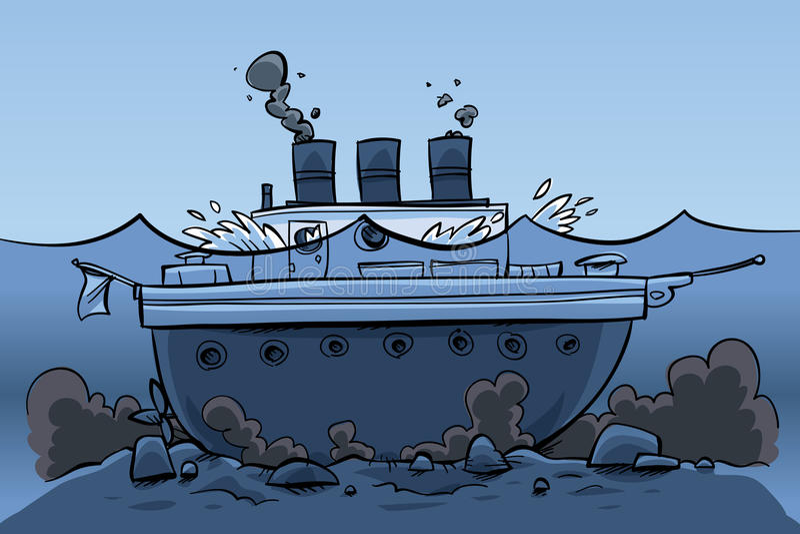 Sjunken Ship stock illustrationer