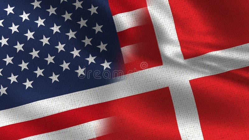 Sjunker den realistiska halvan för USA Danmark tillsammans arkivbilder