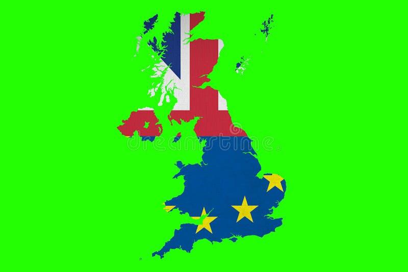 Sjunker EU för europeisk union Brexit för halva blått och den halva stora britaien för UK vektor illustrationer