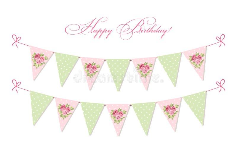 Sjunker sjaskig chic textilbunting för gullig tappning ideal för baby shower, bröllop, födelsedag royaltyfri illustrationer
