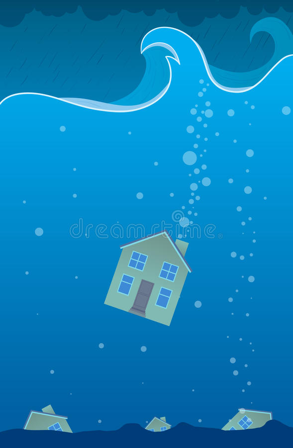 sjunket hus stock illustrationer