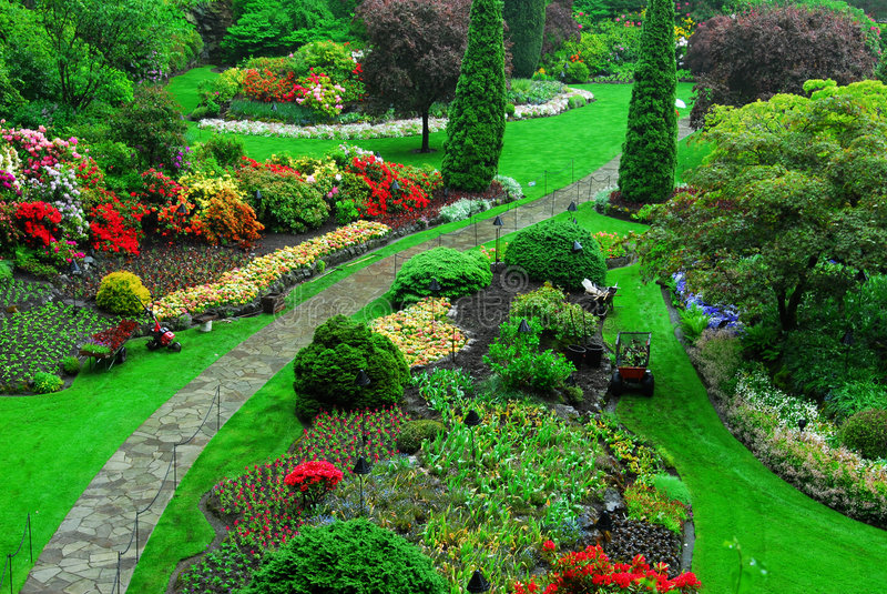 sjunkna trädgårds- trädgårdar för butchart arkivbilder