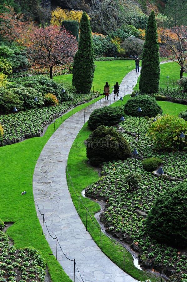 sjunkna trädgårds- trädgårdar för butchart royaltyfri fotografi