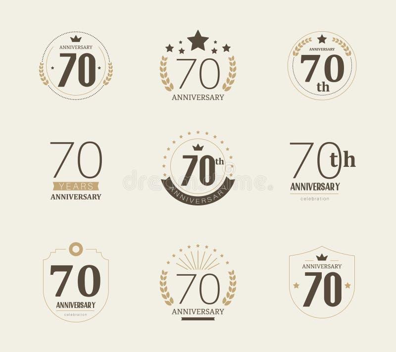 Sjuttio år årsdagberömlogotyp 70th årsdaglogouppsättning royaltyfri illustrationer