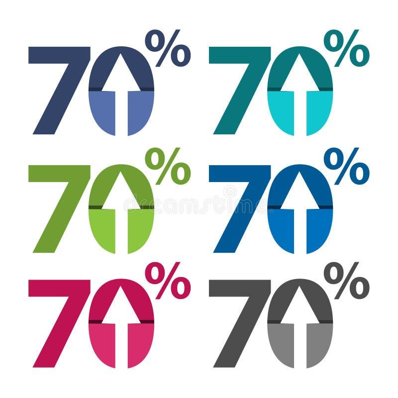 sjuttio procent upp, uppåtriktad pilillustration vektor illustrationer
