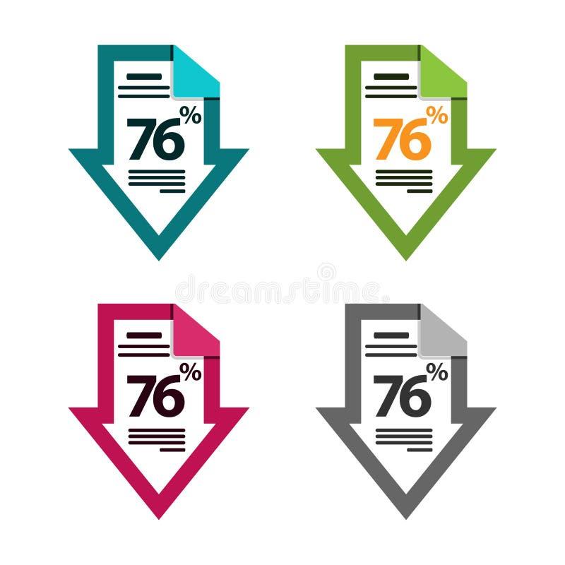 Sjuttiosex procent ner, nedåt pilillustration Dokumentsymbol stock illustrationer