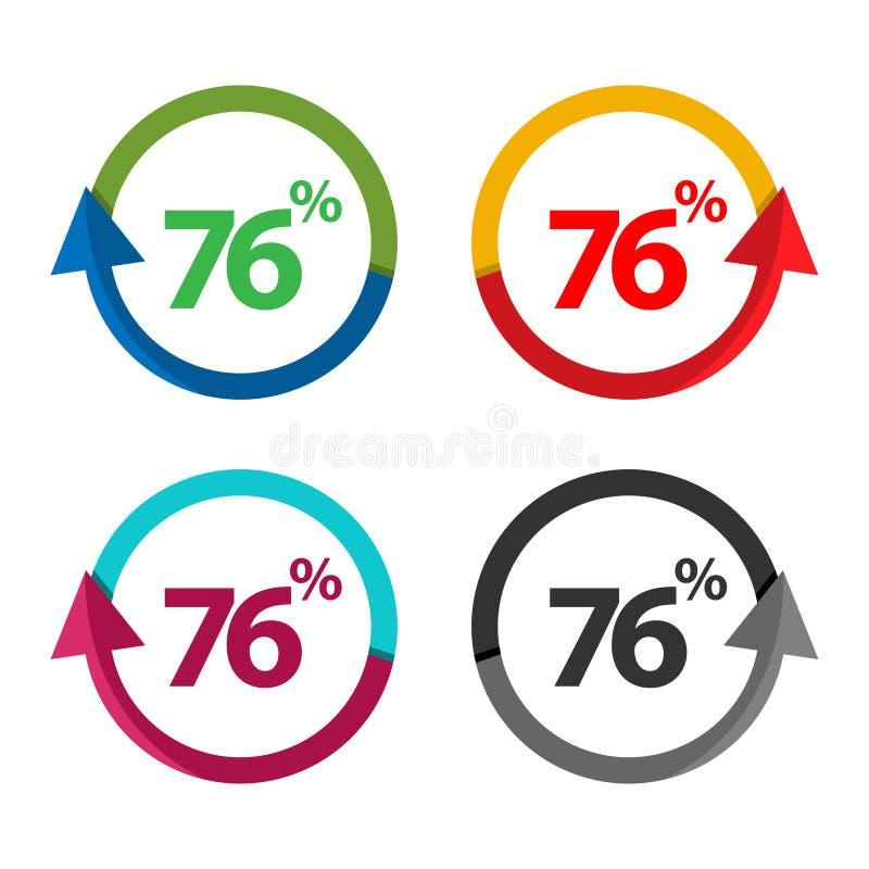 Sjuttiosex procent upp, uppåtriktad pilillustration-vektor royaltyfri illustrationer
