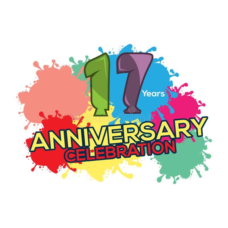Sjutton år färgrik årsdag årsdagmalldesign för rengöringsduk, affisch, häfte, broschyr, etc. royaltyfri illustrationer