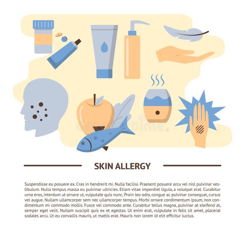 Skóry alergii objawy i traktowanie sztandaru szablon w mieszkaniu projektują ilustracja wektor