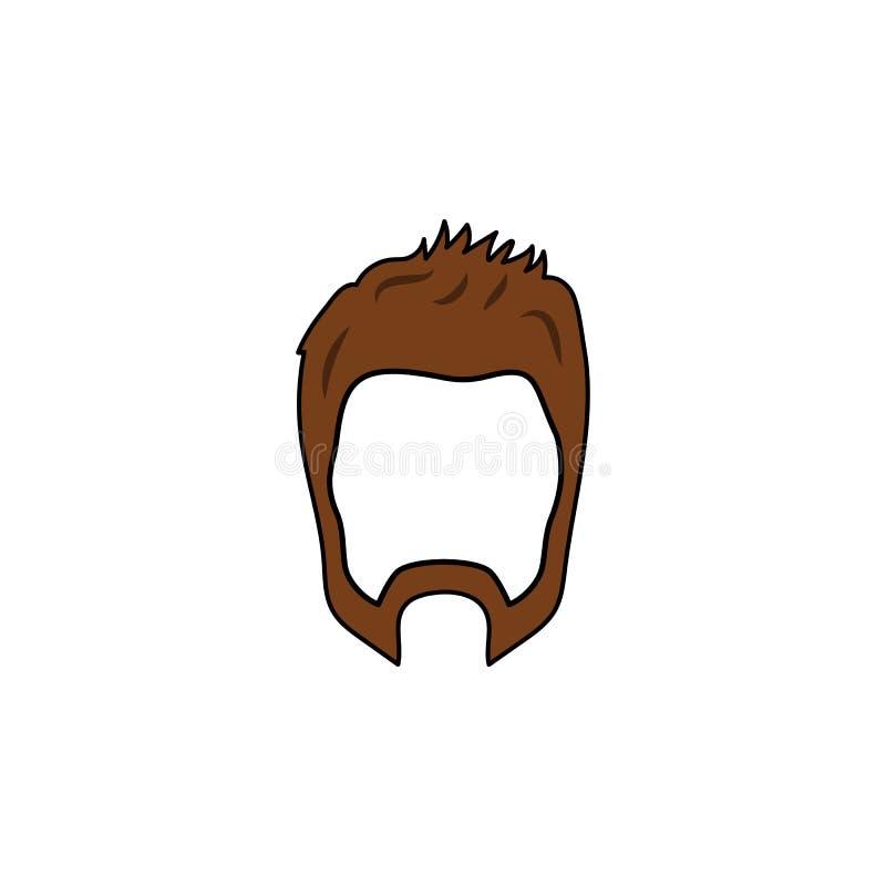 Skägg- och frisyrsymbol Enkel beståndsdelillustration Skägg- och frisyrsymboldesignen från frisersalongsamling ställde in Vara ka stock illustrationer