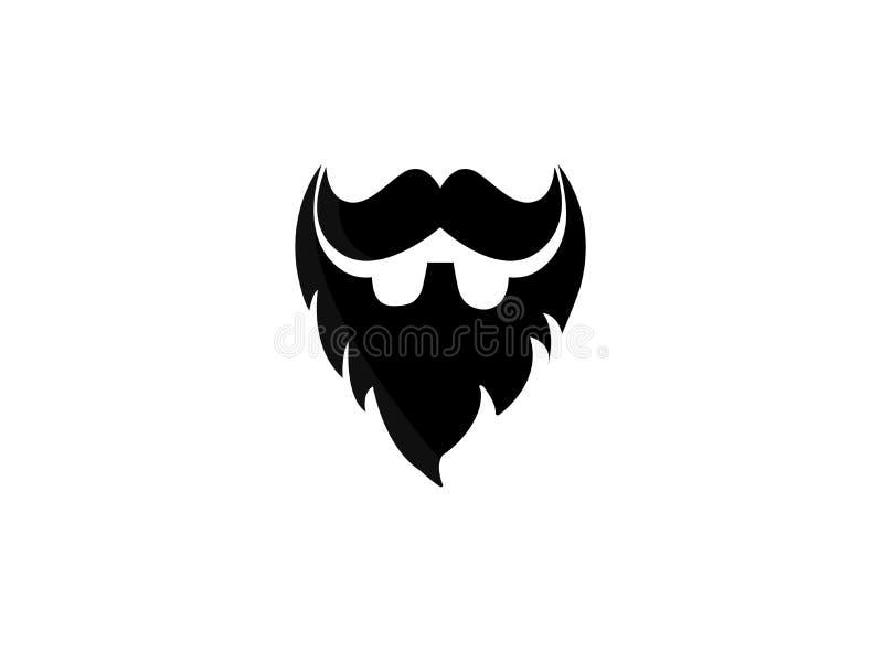 Skägg och mustasch av en elegant gentleman för logodesignillustrationen på vit bakgrund royaltyfri illustrationer