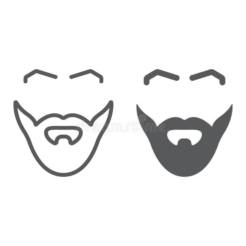 Skägg- och mustaschlinje och skårasymbol, barberare och frisyr, manligt hårtecken, vektordiagram, en linjär modell på a royaltyfri illustrationer