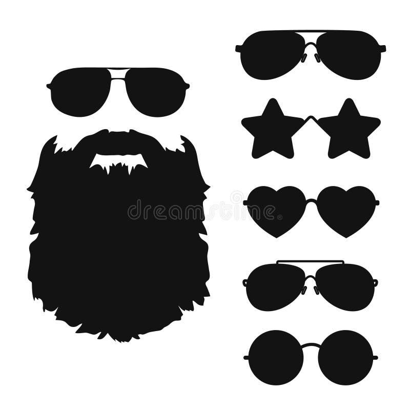 Skäggig kontur för hipsterframsidasvart och solglasögonsymbolssamling stock illustrationer