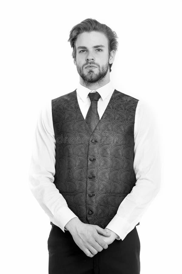 Skäggig man eller allvarlig gentleman i waistcoat och band royaltyfria foton
