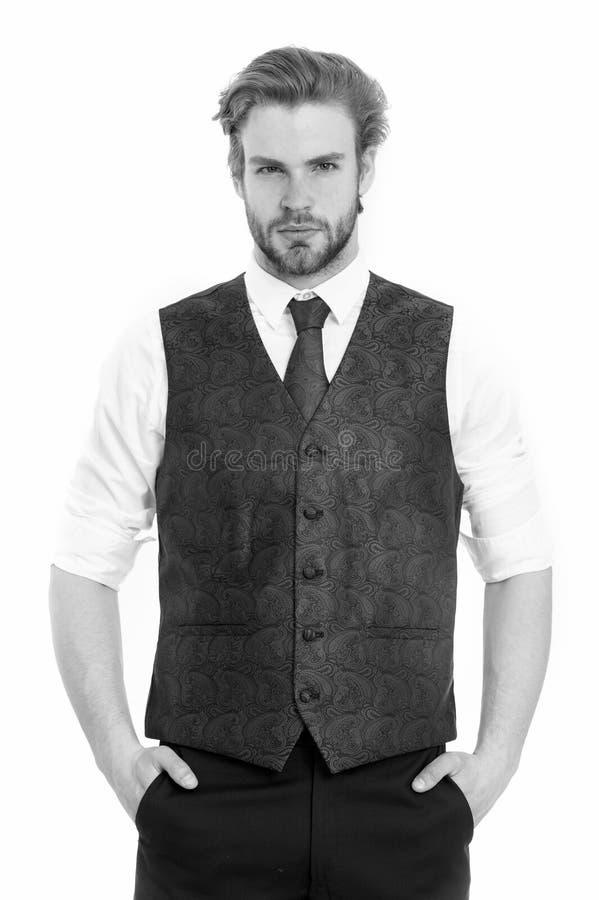 Skäggig man eller allvarlig gentleman i waistcoat och band fotografering för bildbyråer