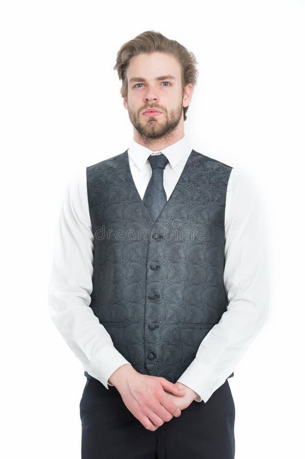 Skäggig man eller allvarlig gentleman i waistcoat och band royaltyfria bilder