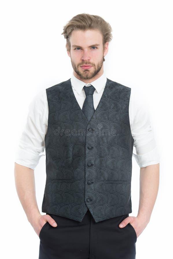Skäggig man eller allvarlig gentleman i waistcoat och band arkivbild