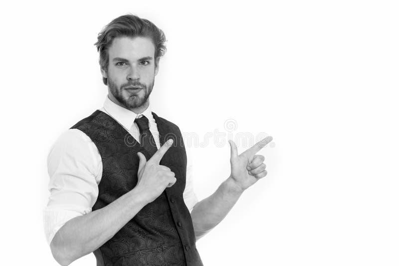 Skäggig man eller säker gentleman i waistcoat och band royaltyfri bild