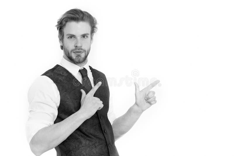 Skäggig man eller säker gentleman i waistcoat och band royaltyfria foton