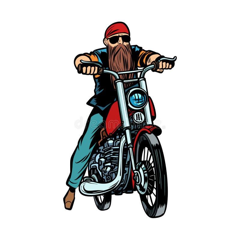 Skäggig man för cyklist på en motorcykelisolat på vit bakgrund stock illustrationer