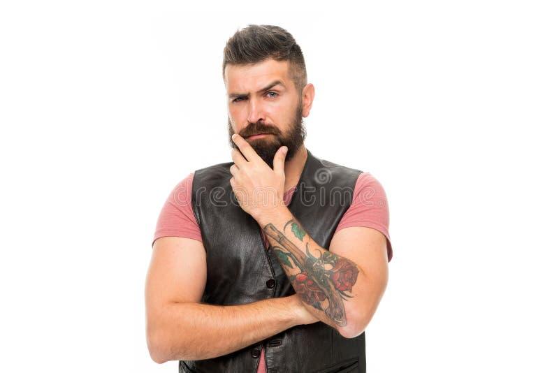 skäggig man Hår- och skäggomsorg Manlig barberareomsorg Allvarlig manhipster isolerade den ansikts- injektionen för den härliga B royaltyfria bilder