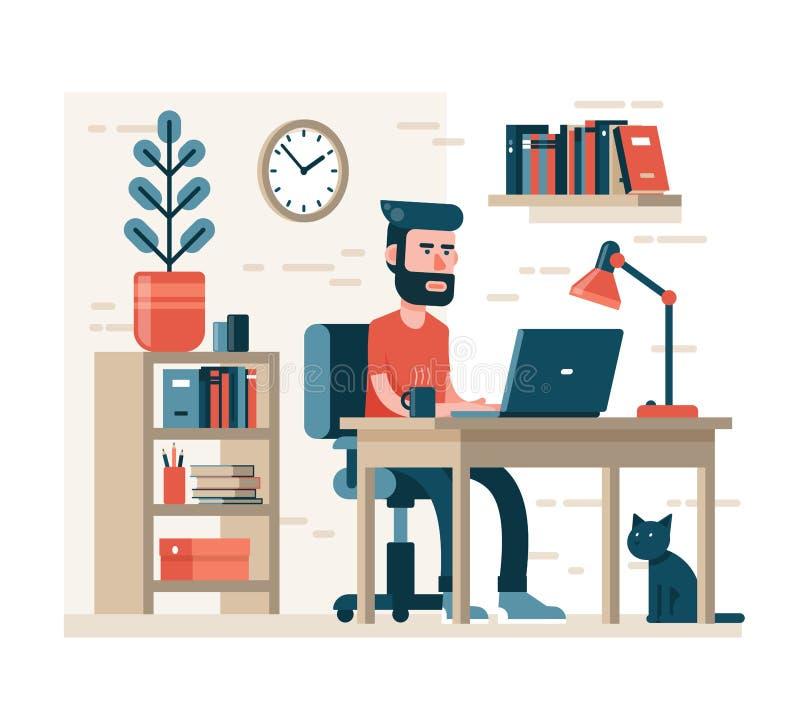 Skäggig man med hipsterhairdressarbeten på bärbara datorn som sitter på stol på tabellen stock illustrationer