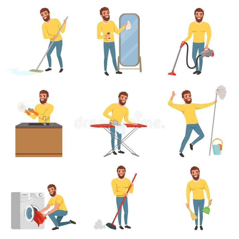 Skäggig man med olika hushållsysslor Rengörande golv med golvmoppet och dammsugare, tvättande disk som stryker kläder royaltyfri illustrationer