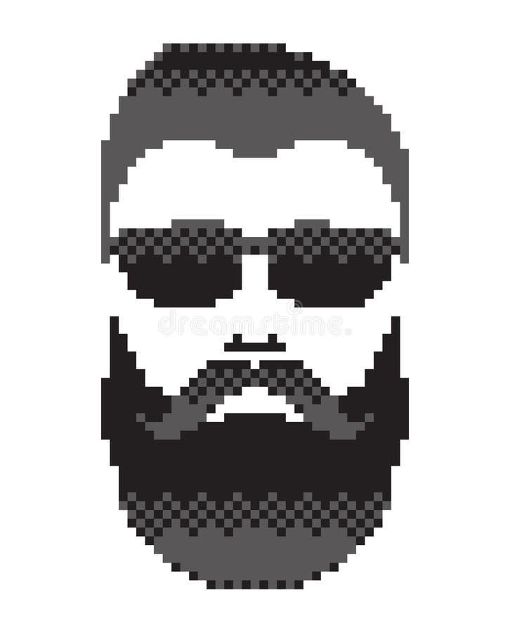 Skäggig man& x27; s-framsida med mustaschen Mustached manstående, svart färg vektor illustrationer