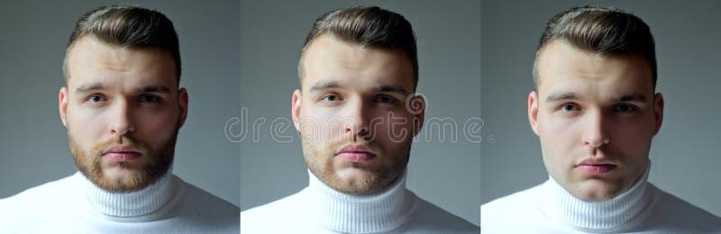 Skäggig manuppsättning Långt skägg Barberaren för stylisten för hår för hårstil shoppar uppsättningen Collage av mans framsidastå royaltyfria foton