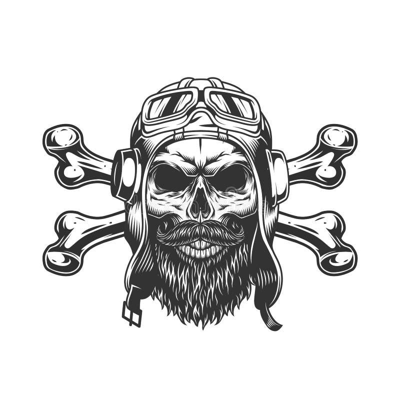 Skäggig och mustached militär skalle royaltyfri illustrationer