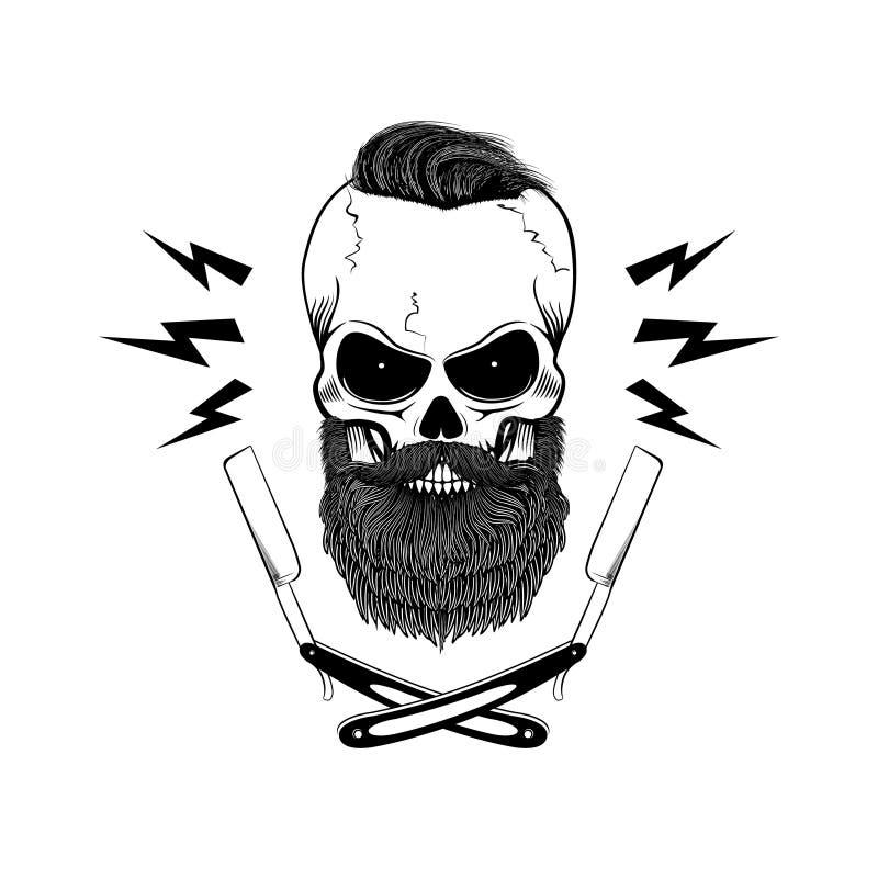 Skäggig skalle med blad royaltyfri illustrationer