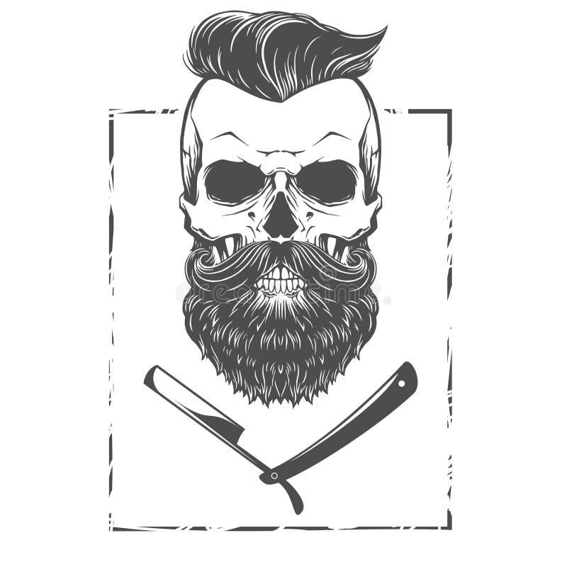 Skäggig skalleillustration stock illustrationer