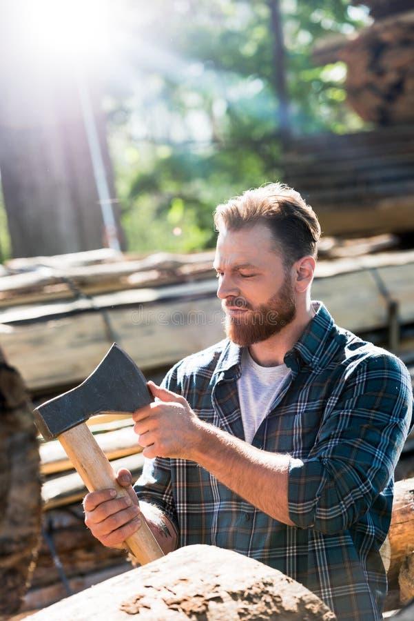 skäggig skogsarbetare i den rutiga skjortan som trycker på bladet av yxan royaltyfria foton