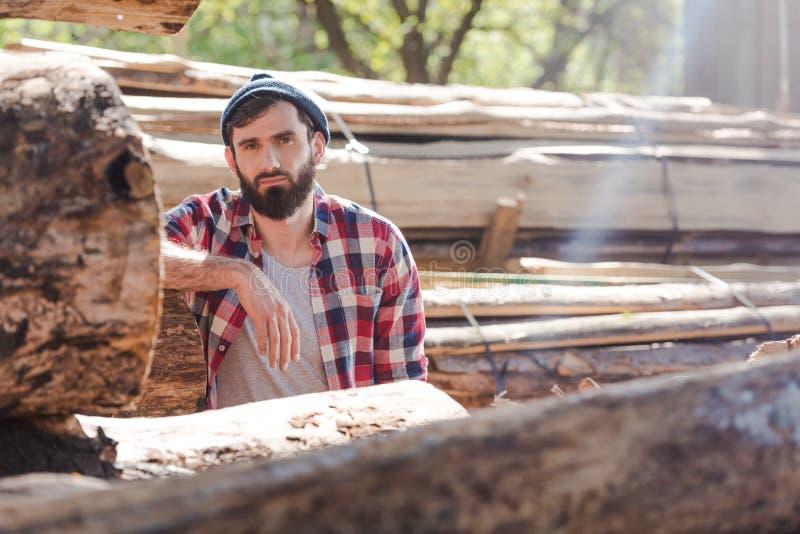 skäggig skogsarbetare i rutigt skjortaanseende arkivbild