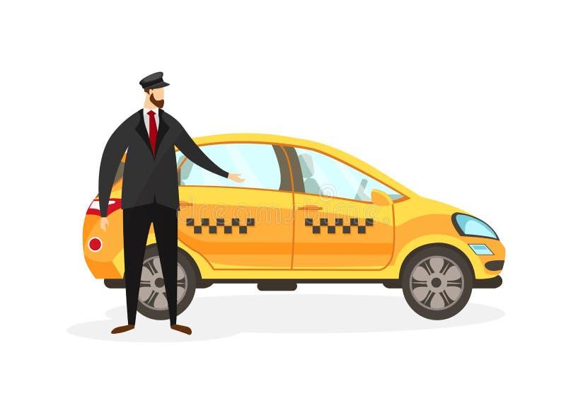 Skäggig Taxi Driver Stand nära gul bilgemkonst vektor illustrationer