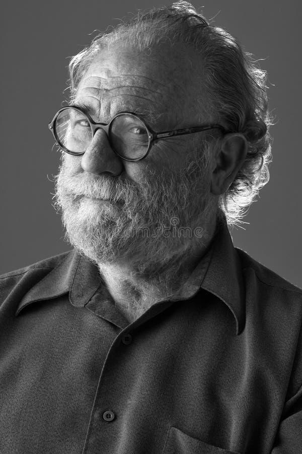 skäggiga looks man den watchful pensionären fotografering för bildbyråer