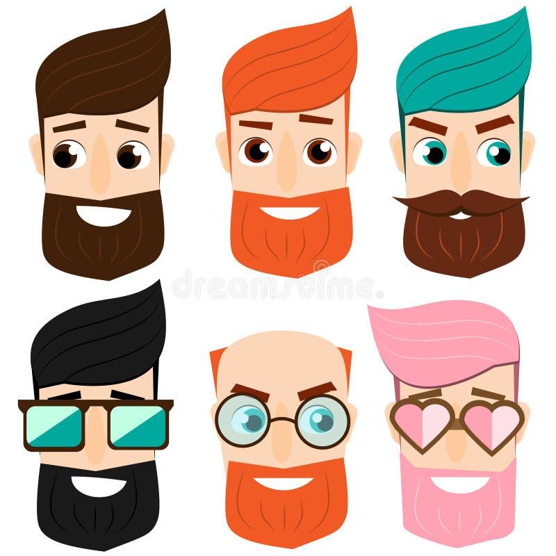 Skäggiga manhuvud för tecknad film Manlig framsida för stilig hipster Emblemet för barberare shoppar och annan modeaffär _ vektor illustrationer