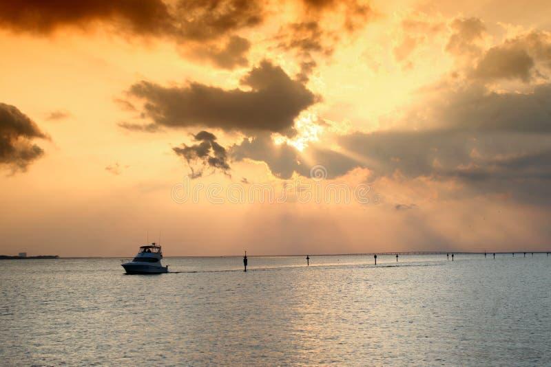 skälla över solnedgång arkivfoto