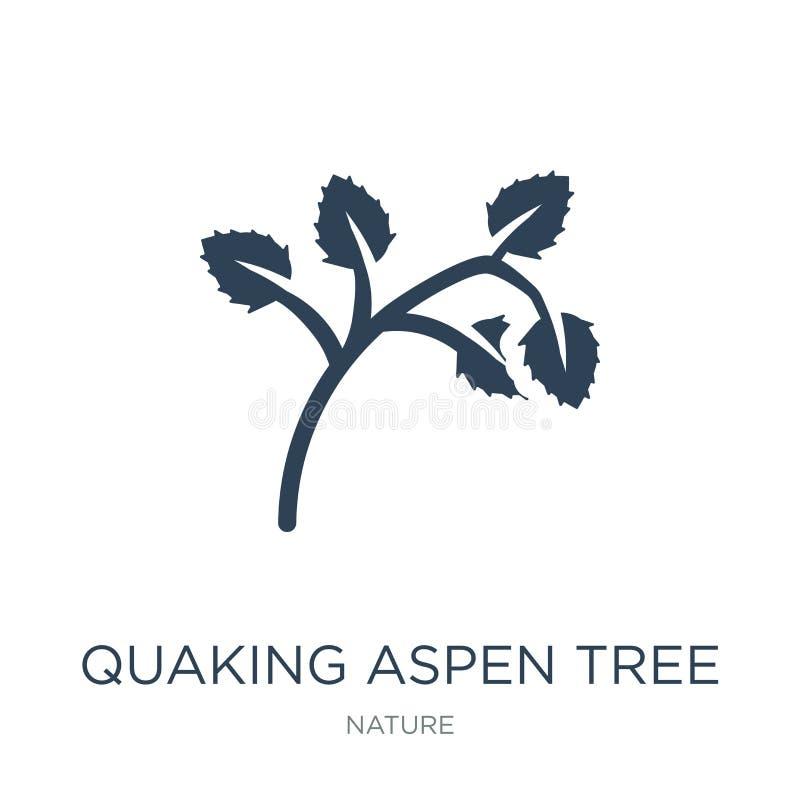 skälva asp- trädsymbol i moderiktig designstil skälva asp- trädsymbol som isoleras på vit bakgrund skälva asp- trädvektor stock illustrationer
