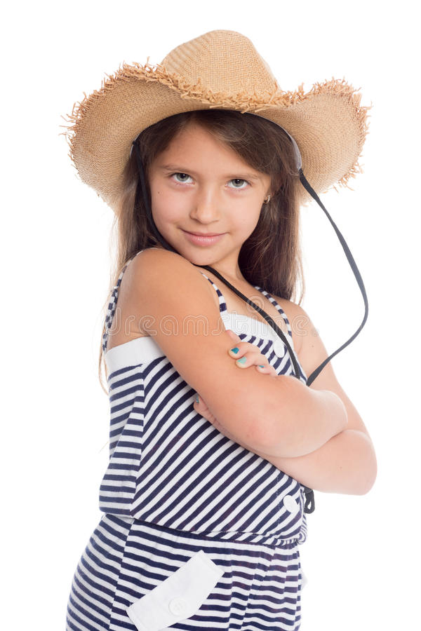 Skämtsam flicka sju år royaltyfri fotografi