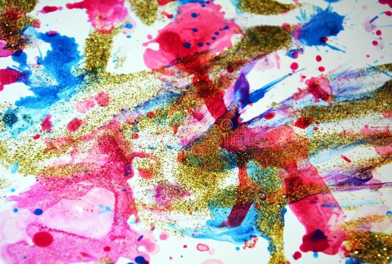 Skämtsamma fläckar för vitgulingmålarfärg, pastellfärgade toner arkivbilder