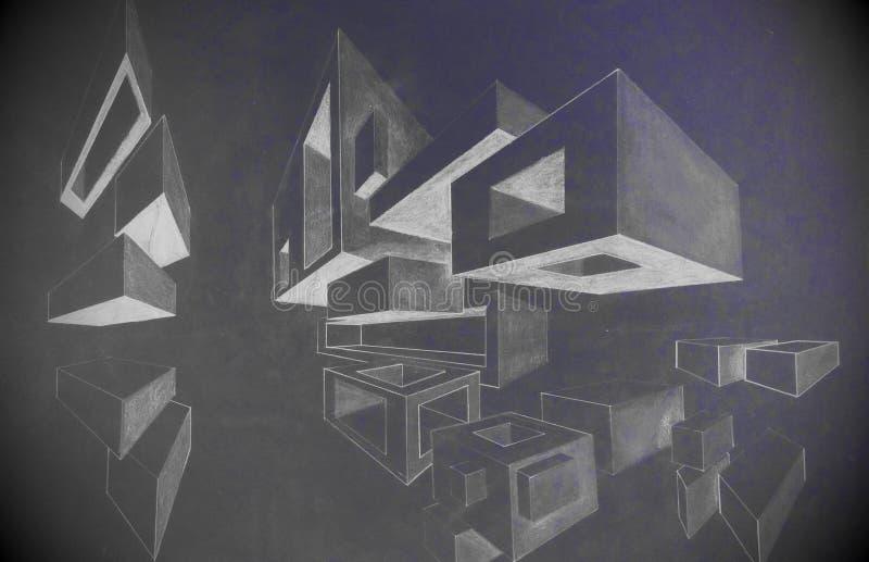 Skära i tärningar blyertspennateckningen som göras av mörka färger för en 5th väghyvel vektor illustrationer