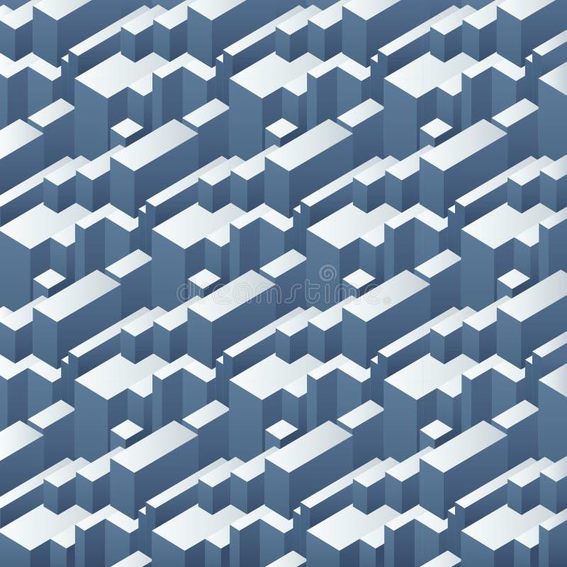 Skära i tärningar den sömlösa isometriska modellen för vektorn, den abstrakta rektangeln 3d bakgrund Enkel geometrisk stadsefterf vektor illustrationer